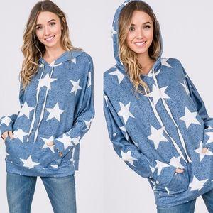 STAR POWER Hoodie Top - BLUE